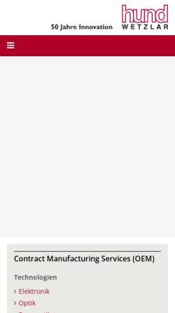 Vorschau der mobilen Webseite www.hund.de, Helmut Hund GmbH