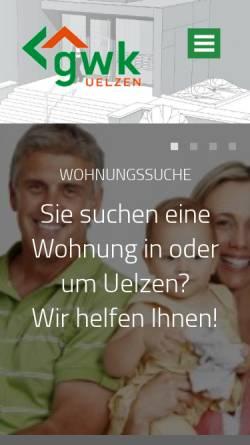 Vorschau der mobilen Webseite www.gwk-uelzen.de, Gesellschaft für Wohnungsbau des Kreises Uelzen (GWK)