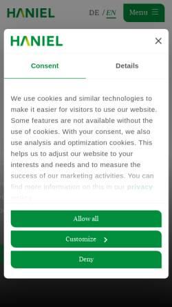 Vorschau der mobilen Webseite www.haniel.de, Franz Haniel & Cie. GmbH