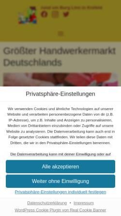 Vorschau der mobilen Webseite www.flachsmarkt.de, Flachsmarkt rund um Burg Linn