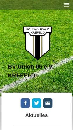 Vorschau der mobilen Webseite www.bvu05.de, BV Union 05 Krefeld e.V.