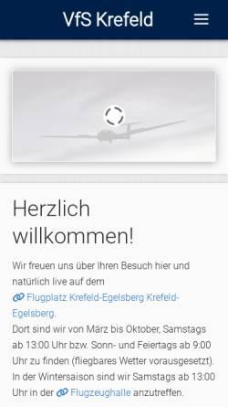 Vorschau der mobilen Webseite www.vfs-krefeld.de, Verein für Segelflug Krefeld e.V.