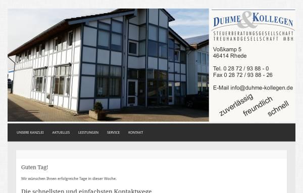 Vorschau von www.duhme-kollegen.de, Duhme & Kollegen Steuerberatungs- und Treuhandgesellschaft mbH