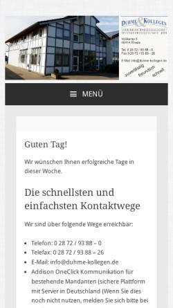Vorschau der mobilen Webseite www.duhme-kollegen.de, Duhme & Kollegen Steuerberatungs- und Treuhandgesellschaft mbH