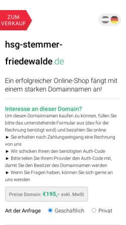 Vorschau der mobilen Webseite www.hsg-stemmer-friedewalde.de, HSG Stemmer/Friedewalde GbR