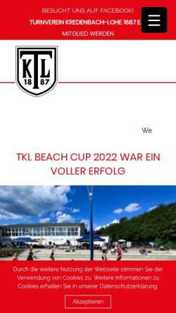 Vorschau der mobilen Webseite www.tvkredenbach-lohe.de, TV Kredenbach-Lohe 1887 e.V.