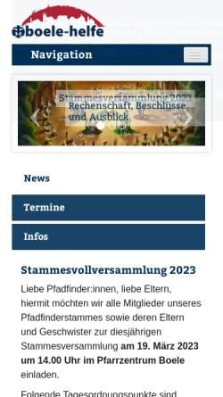Vorschau der mobilen Webseite www.stamm-boele.de, Deutsche Pfadfinderschaft Sankt Georg (DPSG) - Stamm Hagen Boele-Helfe