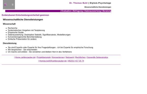 Vorschau von www.zahlenzauber.de, Wissenschaftliche Dienstleistungen, Dr. Thomas Buhl (Diplom-Psychologe)