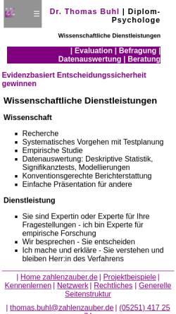 Vorschau der mobilen Webseite www.zahlenzauber.de, Wissenschaftliche Dienstleistungen, Dr. Thomas Buhl (Diplom-Psychologe)