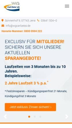 Vorschau der mobilen Webseite www.wgcarlzeiss.de, Wohnungsgenossenschaft Carl Zeiss eG