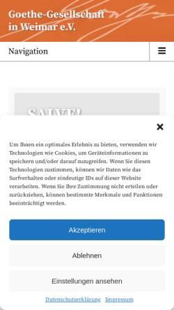 Vorschau der mobilen Webseite www.goethe-gesellschaft.de, Goethe-Gesellschaft in Weimar e.V.