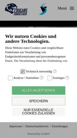 Vorschau der mobilen Webseite www.cougars.de, Kornwestheim Cougars
