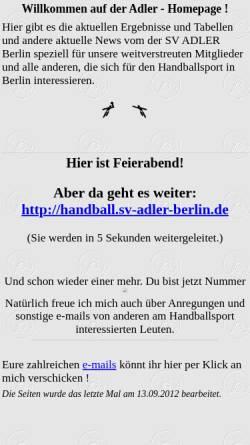 Vorschau der mobilen Webseite www.adler-mariendorf.de, Adler Mariendorf Handball