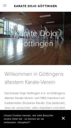 Vorschau der mobilen Webseite www.karate-goettingen.de, Karate Dojo Göttingen e.V.