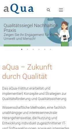 Vorschau der mobilen Webseite www.aqua-institut.de, AQUA Institut für angewandte Qualitätsförderung und Forschung im Gesundheitswesen GmbH