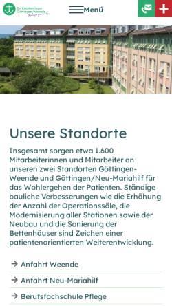 Vorschau der mobilen Webseite www.neumariahilf.de, Krankenhaus Neu-Mariahilf
