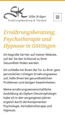 Vorschau der mobilen Webseite www.richtig-essen-macht-fit.de, Silke Kröger