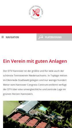 Vorschau der mobilen Webseite dtv-hannover.de, Deutscher Tennisverein Hannover e.V.