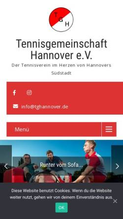 Vorschau der mobilen Webseite tghannover.de, Tennisgemeinschaft Hannover e.V.