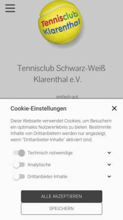 Vorschau der mobilen Webseite www.tc-klarenthal.de, TC Schwarz Weiß Klarenthal e.V.