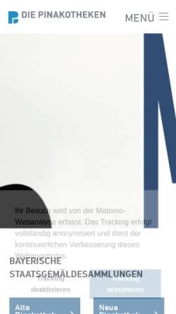 Vorschau der mobilen Webseite www.pinakothek.de, Pinakothek der Moderne