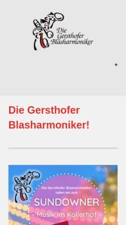 Vorschau der mobilen Webseite www.blasharmoniker.de, Gersthofer Blasharmoniker e.V.