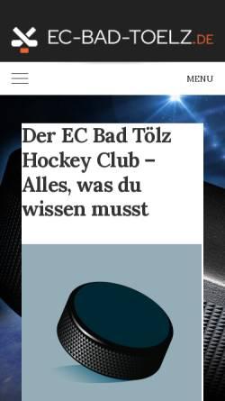Vorschau der mobilen Webseite www.ec-bad-toelz.de, EC Bad Tölz - Tölzer Löwen