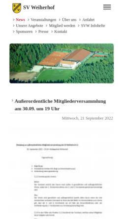 Vorschau der mobilen Webseite www.svweiherhof.de, Sportverein SV Weiherhof e.V.