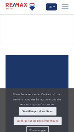 Vorschau der mobilen Webseite www.remax-bad-toelz.de, Remax Immobilien