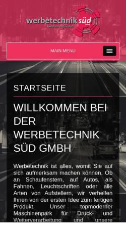 Vorschau der mobilen Webseite www.werbetechnik-sued.de, Werbetechnik Süd GmbH - Klaus Wankerl