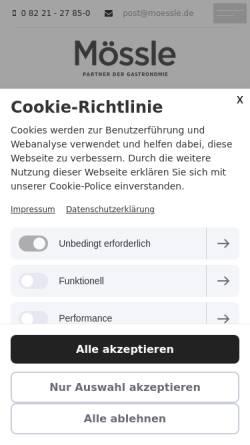 Vorschau der mobilen Webseite www.moessle.de, Martin Mössle Großhandel
