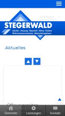 Vorschau der mobilen Webseite stegerwald.de, Reiner Stegerwald GmbH