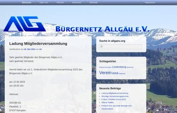 Vorschau von www.allgaeu.org, Bürgernetz Allgäu e.V.