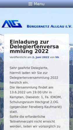 Vorschau der mobilen Webseite www.allgaeu.org, Bürgernetz Allgäu e.V.
