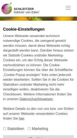 Vorschau der mobilen Webseite www.schleitzer.de, Schleitzer baut Gärten creativ & innovativ GmbH