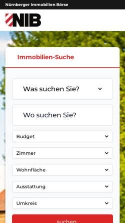 Vorschau der mobilen Webseite www.nib.de, Nürnberger Immobilien Börse