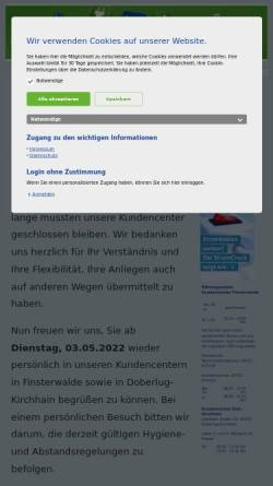Vorschau der mobilen Webseite www.stadtwerke-finsterwalde.de, Stadtwerke Finsterwalde