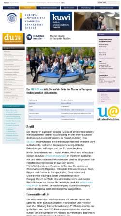 Vorschau der mobilen Webseite www.kuwi.euv-frankfurt-o.de, Master-Studiengang European Studies (MES)