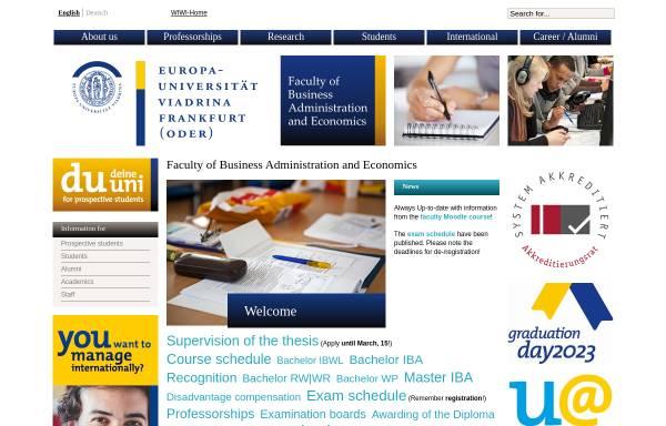 Vorschau von www.wiwi.euv-frankfurt-o.de, Wirtschaftswissenschaftliche Fakultät