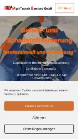 Vorschau der mobilen Webseite www.alpintechnik-bernhard.de, Alpintechnik Bernhard
