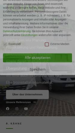 Vorschau der mobilen Webseite www.rkaehne.de, R. Kähne elektrotechnische Anlagen GmbH
