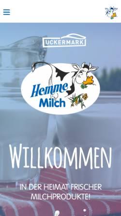 Vorschau der mobilen Webseite www.um-hemme-milch.de, Hemme Milch GmbH & Co. KG