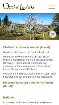 Vorschau der mobilen Webseite www.obsthof-lindicke.de, Obsthof Lindicke