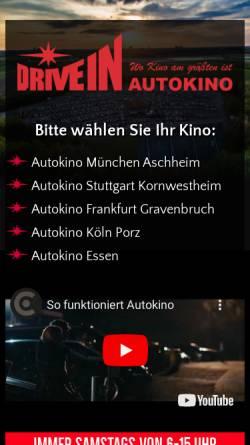Vorschau der mobilen Webseite www.autokino-deutschland.de, Drive In Autokino Essen