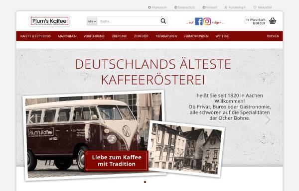 Vorschau von www.plumskaffee.de, PlumsKaffee - Xavier Plum GmbH & Co. KG