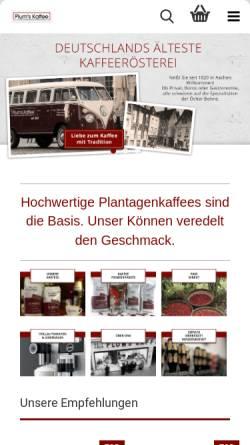 Vorschau der mobilen Webseite www.plumskaffee.de, PlumsKaffee - Xavier Plum GmbH & Co. KG