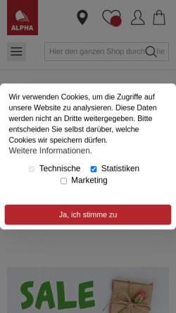 Vorschau der mobilen Webseite www.alpha-dortmund.de, ALPHA - Buchhandlung