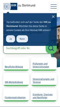 Vorschau der mobilen Webseite www.dortmund.ihk24.de, Industrie- und Handelskammer
