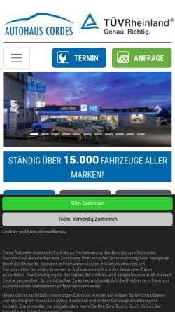 Vorschau der mobilen Webseite www.auto-cordes.de, Autohaus Cordes