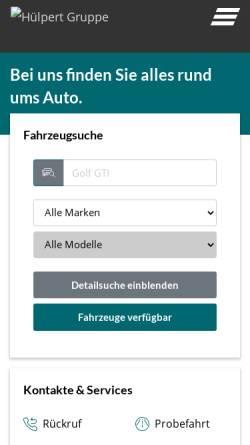 Vorschau der mobilen Webseite www.huelpert.de, Autohaus Hülpert